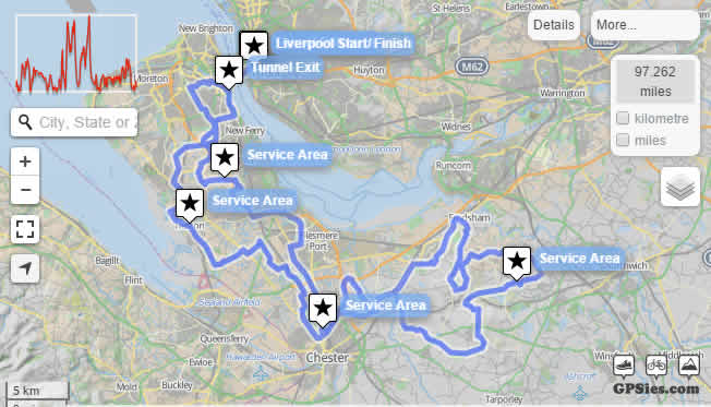 Map of Liverpool to Chester Sportive Route