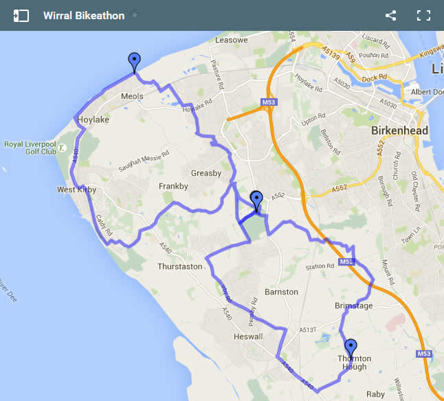 Map of Wirral Bikeathon