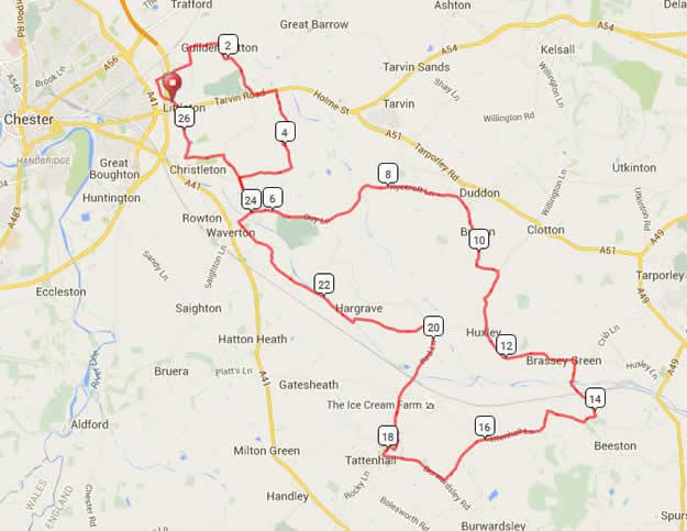 Bike Chester 25m Route